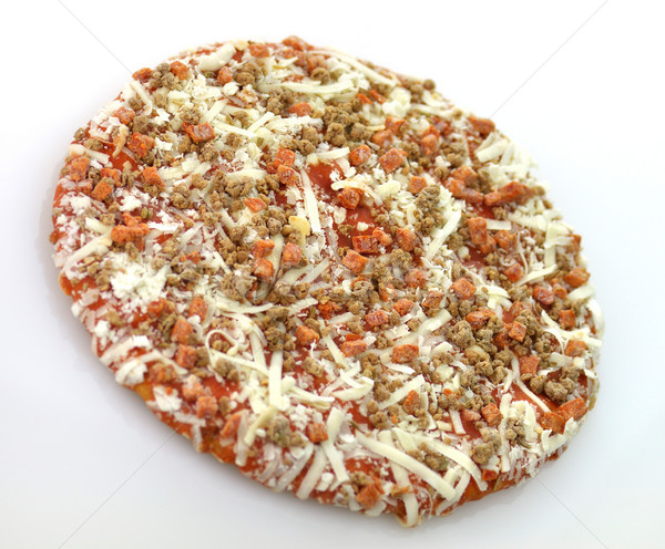 Stock photo: Frozen pepperoni and sausages mini pizza
