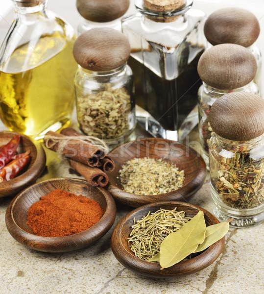 Spezie olio da cucina aceto alimentare pepe Foto d'archivio © saddako2