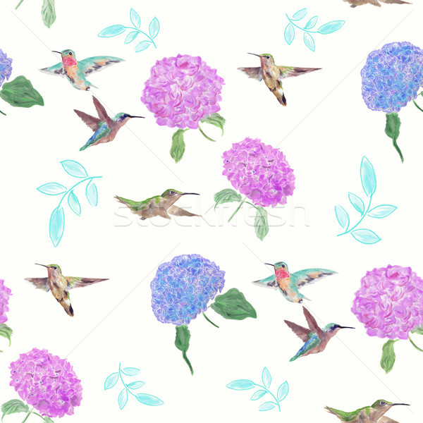 seamless  pattern with flowers and hummingbirds Stock photo © saddako2
