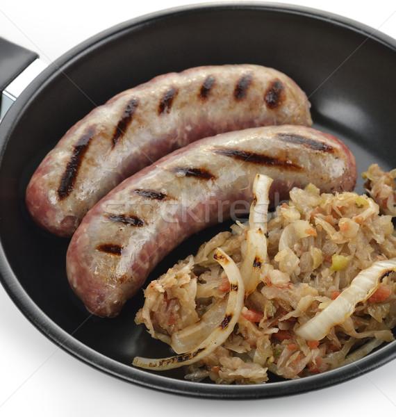 кислая капуста сковорода еды блюдо говядины Сток-фото © saddako2