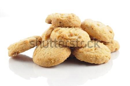 Karmel cookie biały żywności tle orzechy Zdjęcia stock © saddako2
