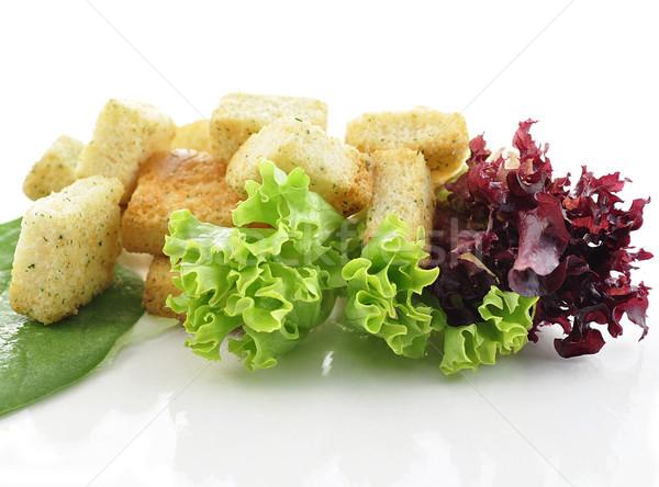 Saláta levelek közelkép textúra étel életstílus Stock fotó © saddako2