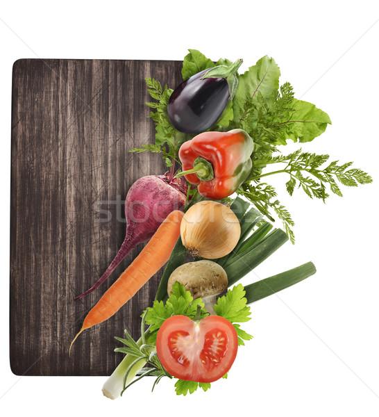Tagliere verdura isolato bianco alimentare foglia Foto d'archivio © saddako2