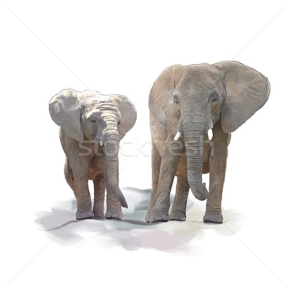 Anne bebek filler suluboya dijital boyama Stok fotoğraf © saddako2