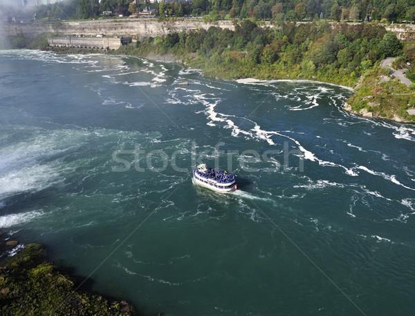 Boot rivier Niagara Falls hemel water landschap Stockfoto © saddako2
