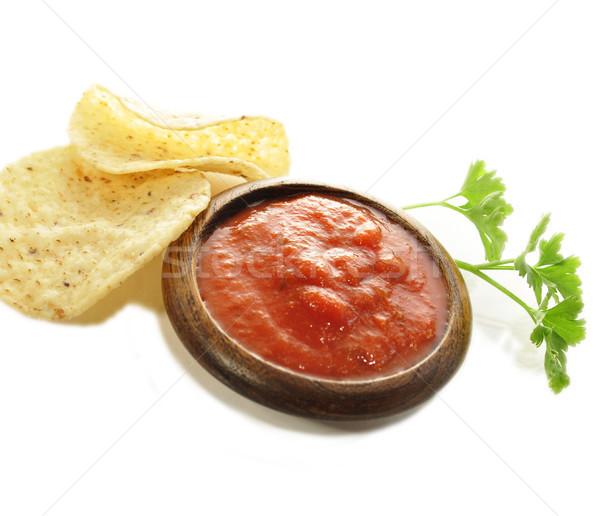 плоская маисовая лепешка чипов белый продовольствие фон перец Сток-фото © saddako2