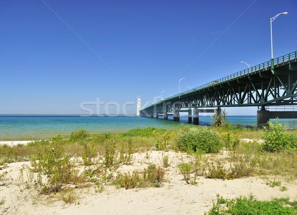 Lago shore spiaggia ponte blu viaggio Foto d'archivio © saddako2