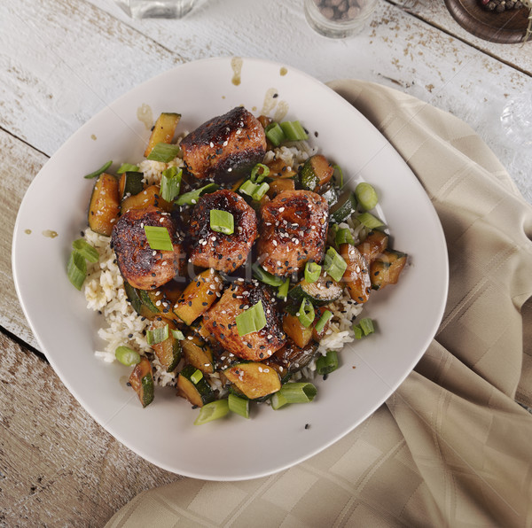 Albóndigas arroz calabacín alimentos cena carne Foto stock © saddako2