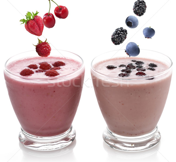 Framboos BlackBerry smoothie bril glas koud Stockfoto © saddako2