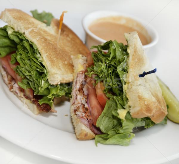 Törökország szendvics ebéd klub szendvics paradicsomleves levél Stock fotó © saddako2