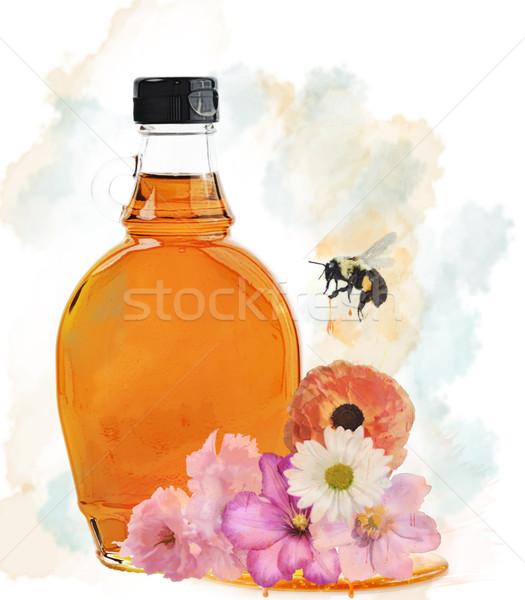 Miele bottiglia acquerello fiori ape estate Foto d'archivio © saddako2