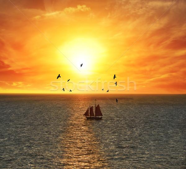 Sailing Boat At The Sunset Stock photo © saddako2