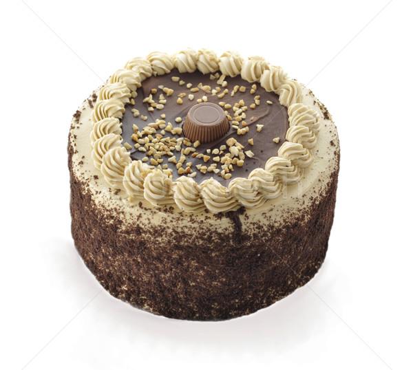 Chocolade pindakaas cake verjaardag dessert zoete Stockfoto © saddako2