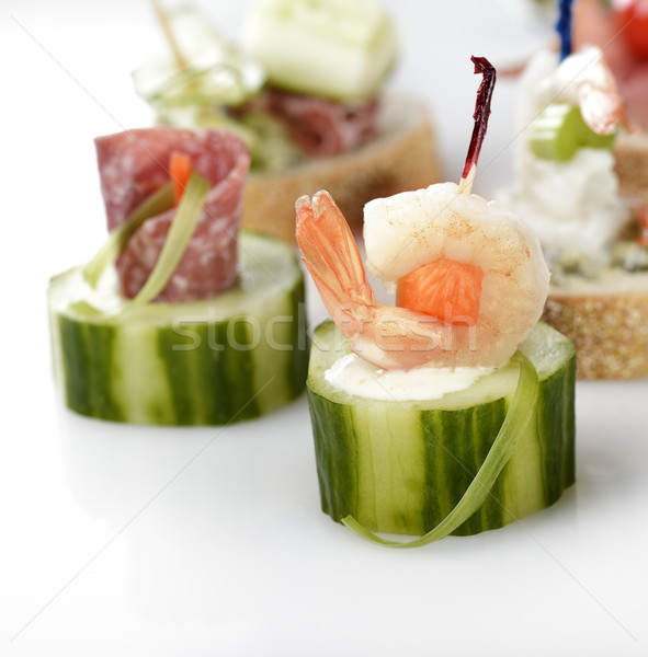 Aperitivos hortalizas mariscos ahumado carne alimentos Foto stock © saddako2