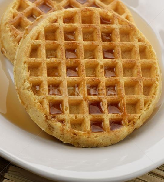 Juhar szirup fehér tányér étel Stock fotó © saddako2
