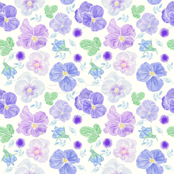 Seamless floral pattern with blue  viola flowers Stock photo © saddako2