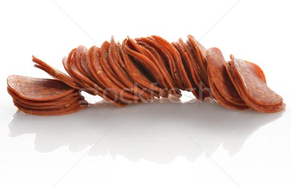 Pepperoni rebanadas blanco alimentos salchicha primer plano Foto stock © saddako2
