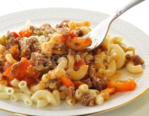 макароны соус овощей продовольствие сыра Сток-фото © saddako2