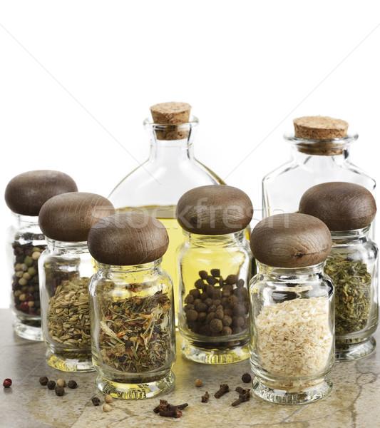 Fűszer étolaj ecet válogatás üveg üveg Stock fotó © saddako2
