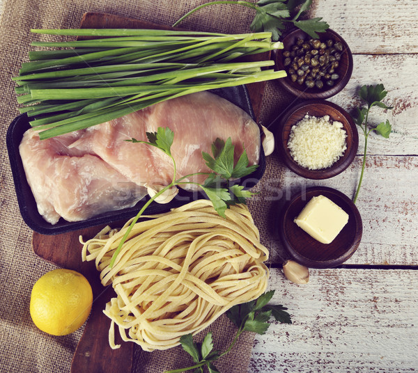 Cottura ingredienti pollo alimentare aglio ciotola Foto d'archivio © saddako2