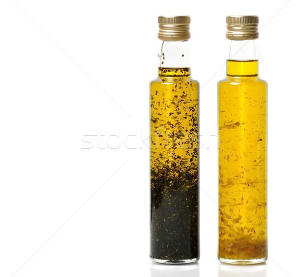 étolaj üvegek fokhagyma bazsalikom olívaolaj fehér Stock fotó © saddako2