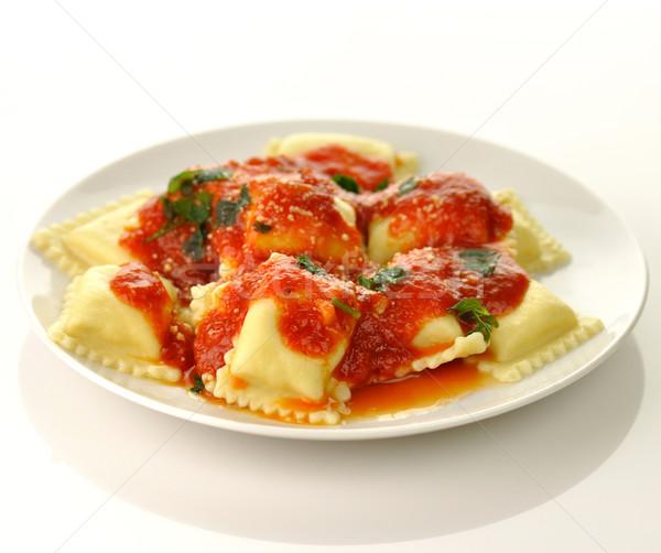 Ravioli pasta Rood tomatensaus voedsel kaas Stockfoto © saddako2
