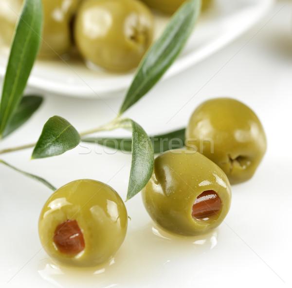 Foto stock: Recheado · verde · azeitonas · folha · planta · oliva