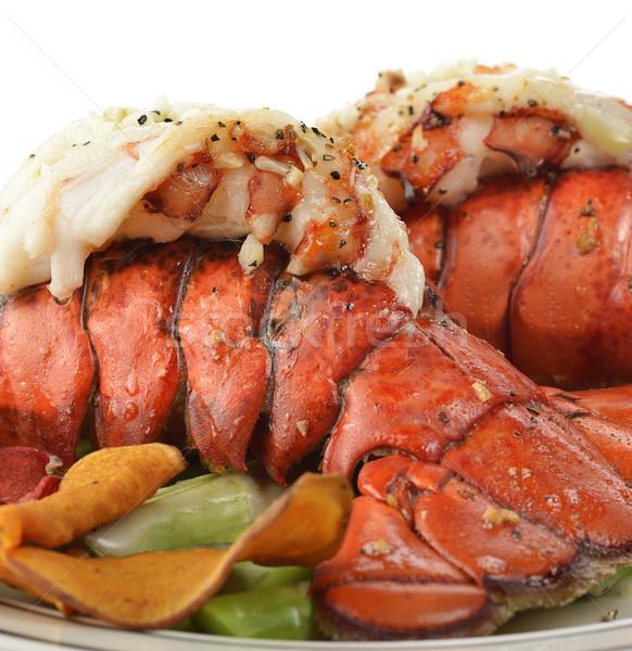 Grillowany homara ogon szparagów żywności Zdjęcia stock © saddako2
