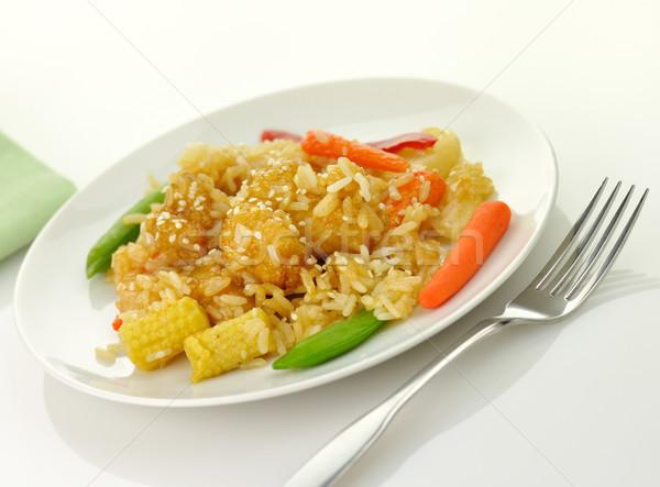 Gergelim laranja frango branco carne arroz Foto stock © saddako2