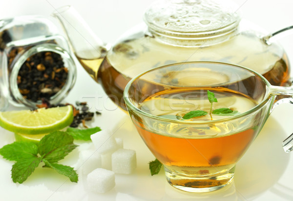 green tea set with lemon and mint  Stock photo © saddako2
