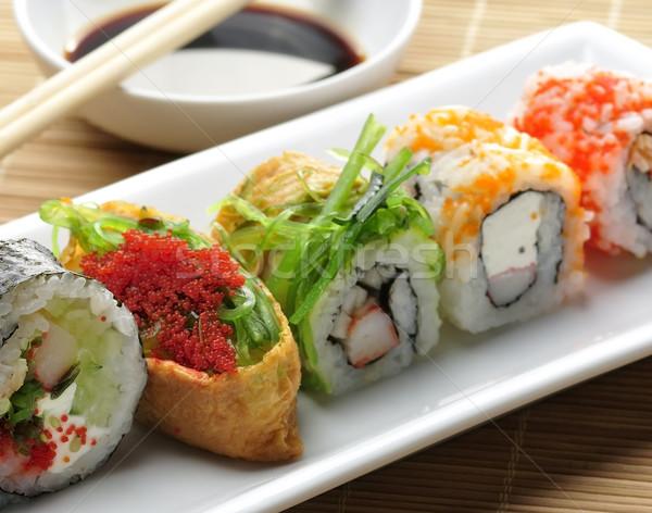 Stok fotoğraf: Sushi · beyaz · yemek · taze