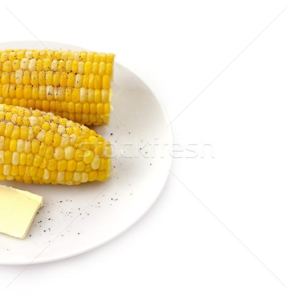 Vaj főtt kukorica só bors tányér Stock fotó © saddako2