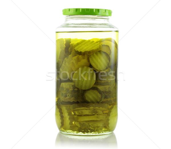 Augurken jar witte glas groene plantaardige Stockfoto © saddako2