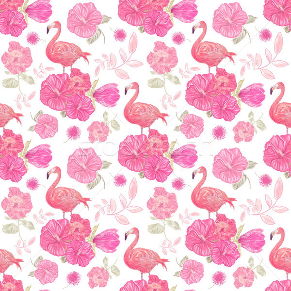 seamless  pattern with flowers and flamingo Stock photo © saddako2