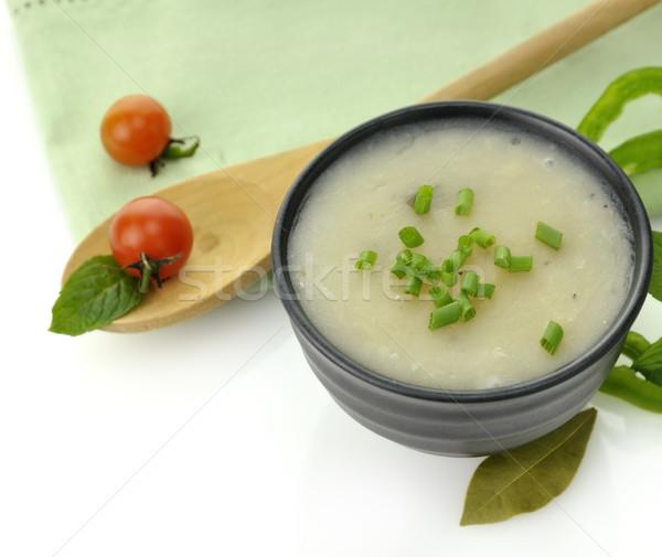 Krumpli krém leves fekete tál vacsora Stock fotó © saddako2