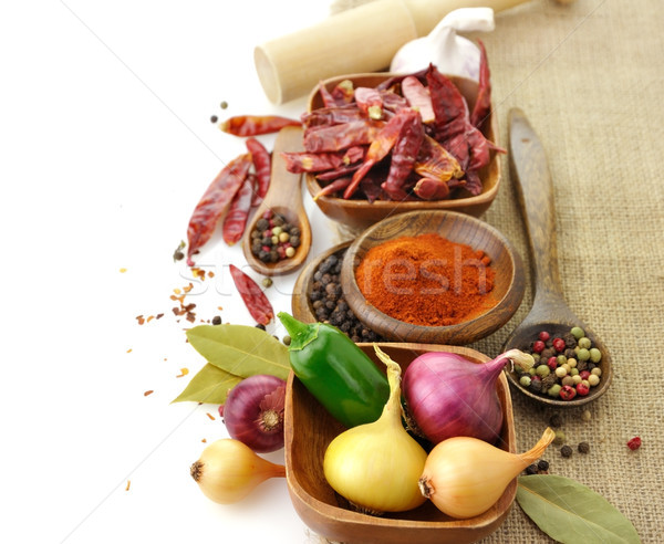 Stockfoto: Specerijen · houten · voedsel · oranje