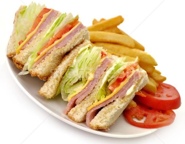 Szendvics Törökország sonka klub szendvics sültkrumpli zöld Stock fotó © saddako2
