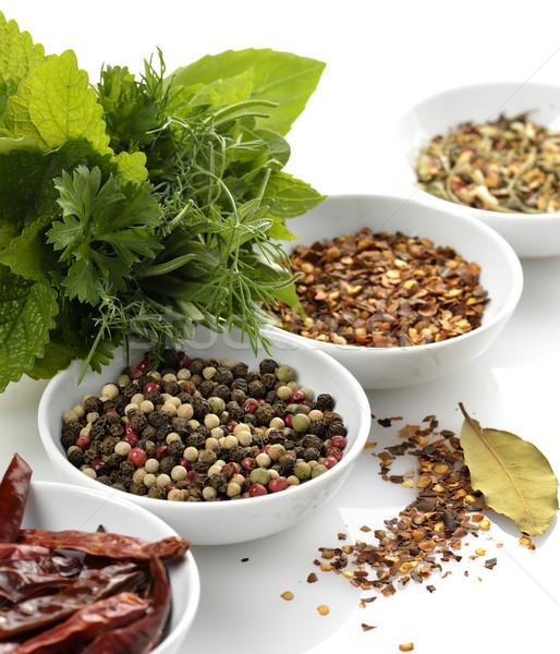 Specerijen kruiden witte groene peper mint Stockfoto © saddako2