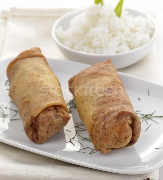 Foto stock: Frango · assado · arroz · comida · refeição · tigela