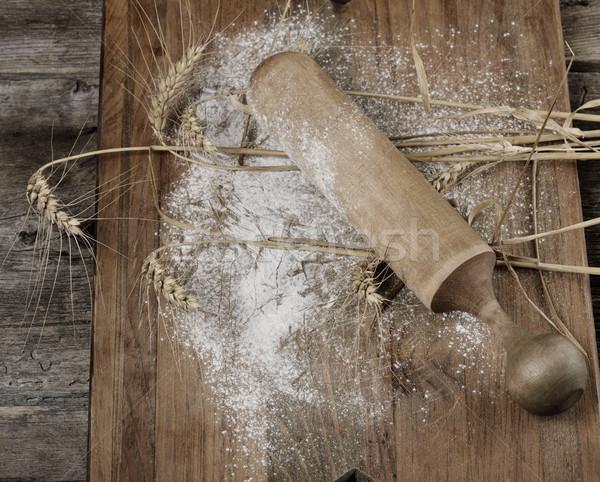 木製 麺棒 小麦粉 小麦 木板 食品 ストックフォト © saddako2