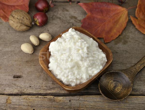 Süzme peynir taze ahşap gıda mutfak Stok fotoğraf © saddako2