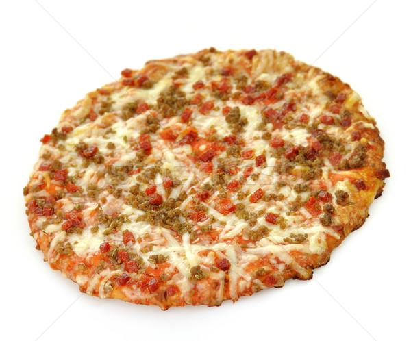 Mini pizza salsiccia pepperoni alimentare pane Foto d'archivio © saddako2