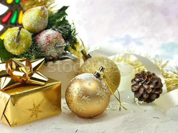 Karácsony díszítések közelkép kék labda ajándék Stock fotó © saddako2
