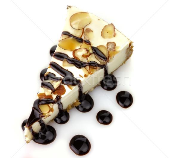 ストックフォト: 白 · チョコレート · チーズケーキ · スライス · 食品 · プレート