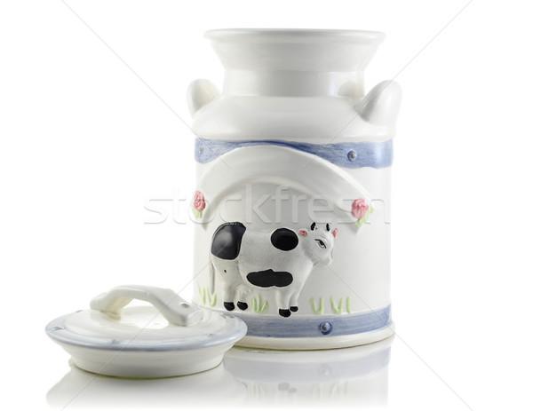 Klasszikus tejesflakon fehér ital antik folyadék Stock fotó © saddako2
