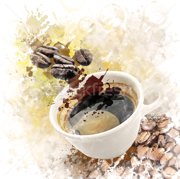 Stock photo: Watercolor Image Of Morning Coffee