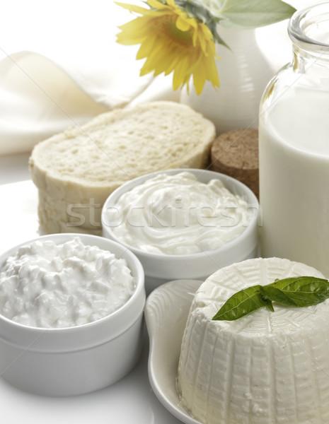 Tejtermékek krém kenyér üveg sajt citromsárga Stock fotó © saddako2