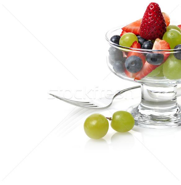 фруктовый салат свежие фрукты Салат стекла блюдо зеленый Сток-фото © saddako2
