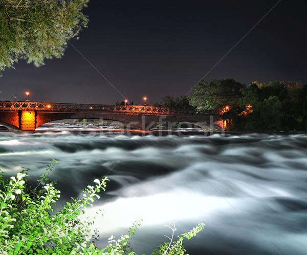 mountain river with bridge at the night time Stock photo © saddako2