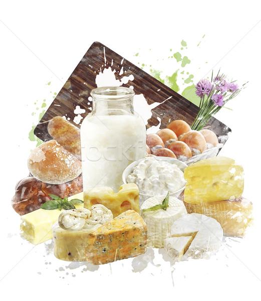 Vízfesték kép tejtermékek digitális festmény sajt Stock fotó © saddako2